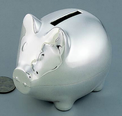 Personalized piggy bank with shiny finish - Engraved silver piggy bank ...